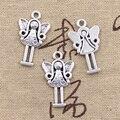20 шт., Подвески Ангела-хранителя 25x14 мм, античные посеребренные Подвески, сделай сам, тибетское серебро ручной работы, цветные украшения
