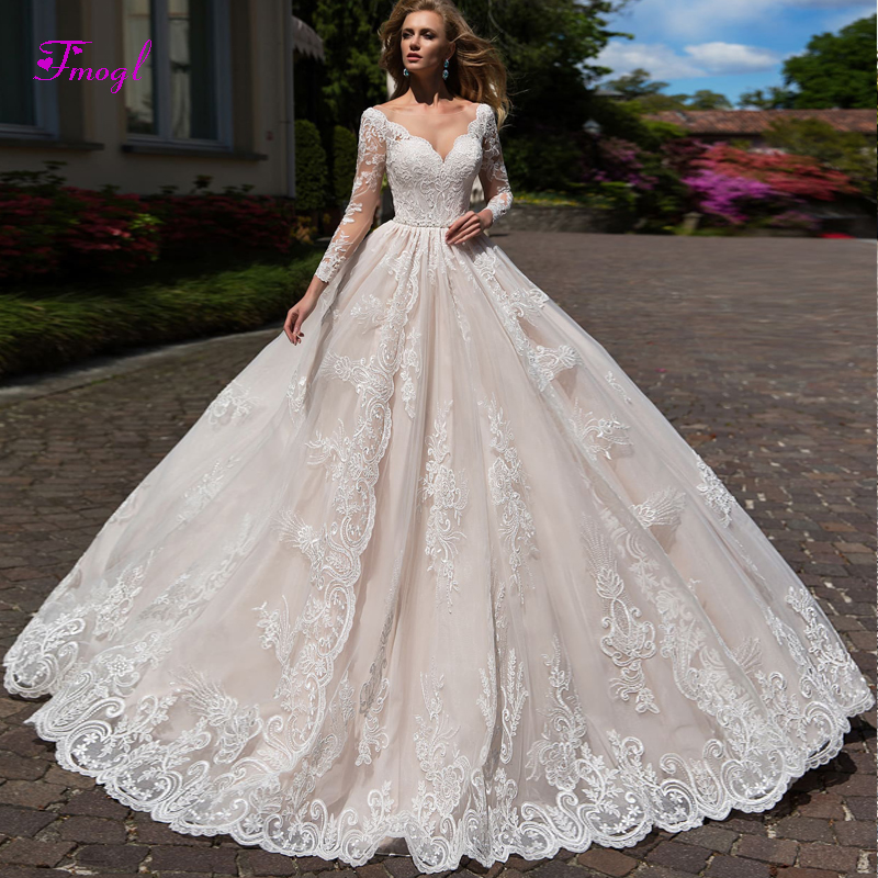 Elegant Scoop Neck Long Sleeve A-Line Wedding Dress 2020 Court Train Appliques Beaded Sashes Vintage Bride Gown Vestido De Noiva