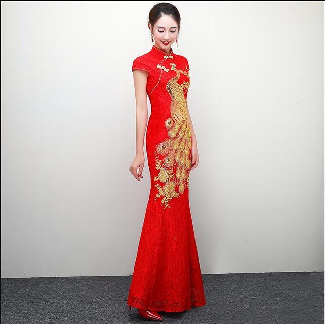Rote Chinesische Hochzeitskleid Weibliche Lange Kurzarm Cheongsam ...