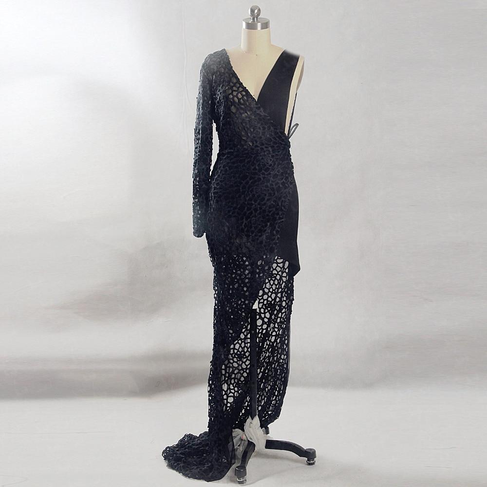 RSE849 Transparent See Through V Neckline Sexy Lace Black   Evening     Dress