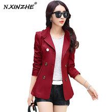 N.XINZHE Autumn Spring Women Fashion Slim Coats Plus Size S-XXL Korean Style Pockets Double Breasted Design Slim Lady Trench
