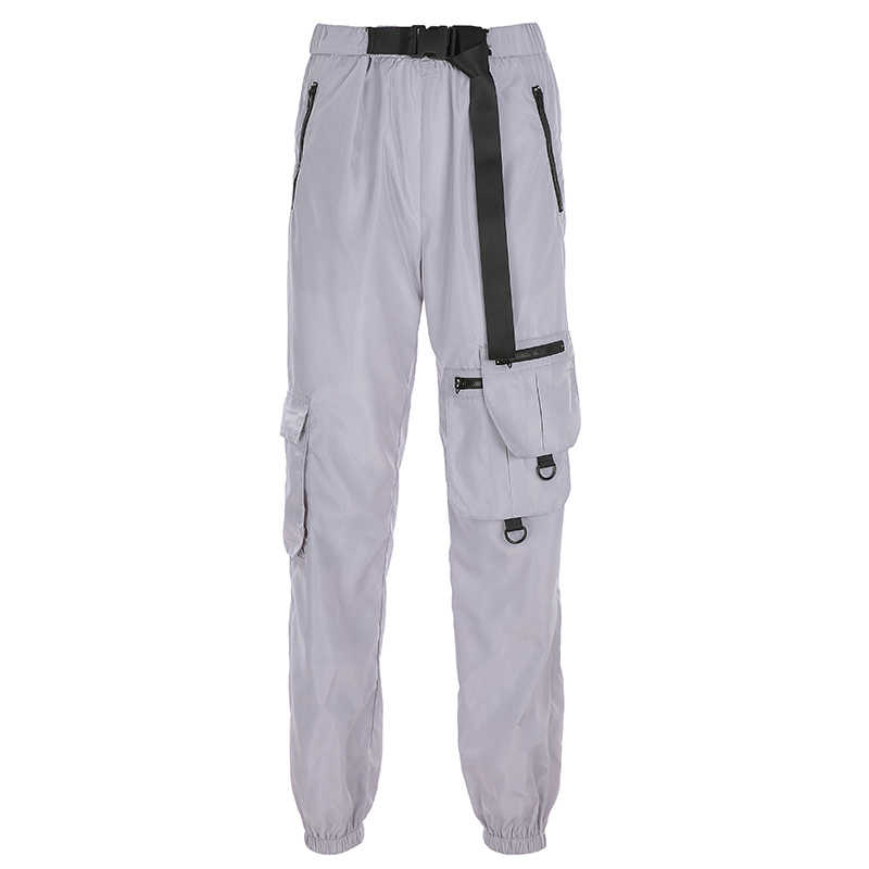 HEYounGIRL эластичные брюки с высокой талией женские с поясом Серые повседневные брюки Харадзюку Капри карманы, набедренный хип пот брюки джоггеры 2019