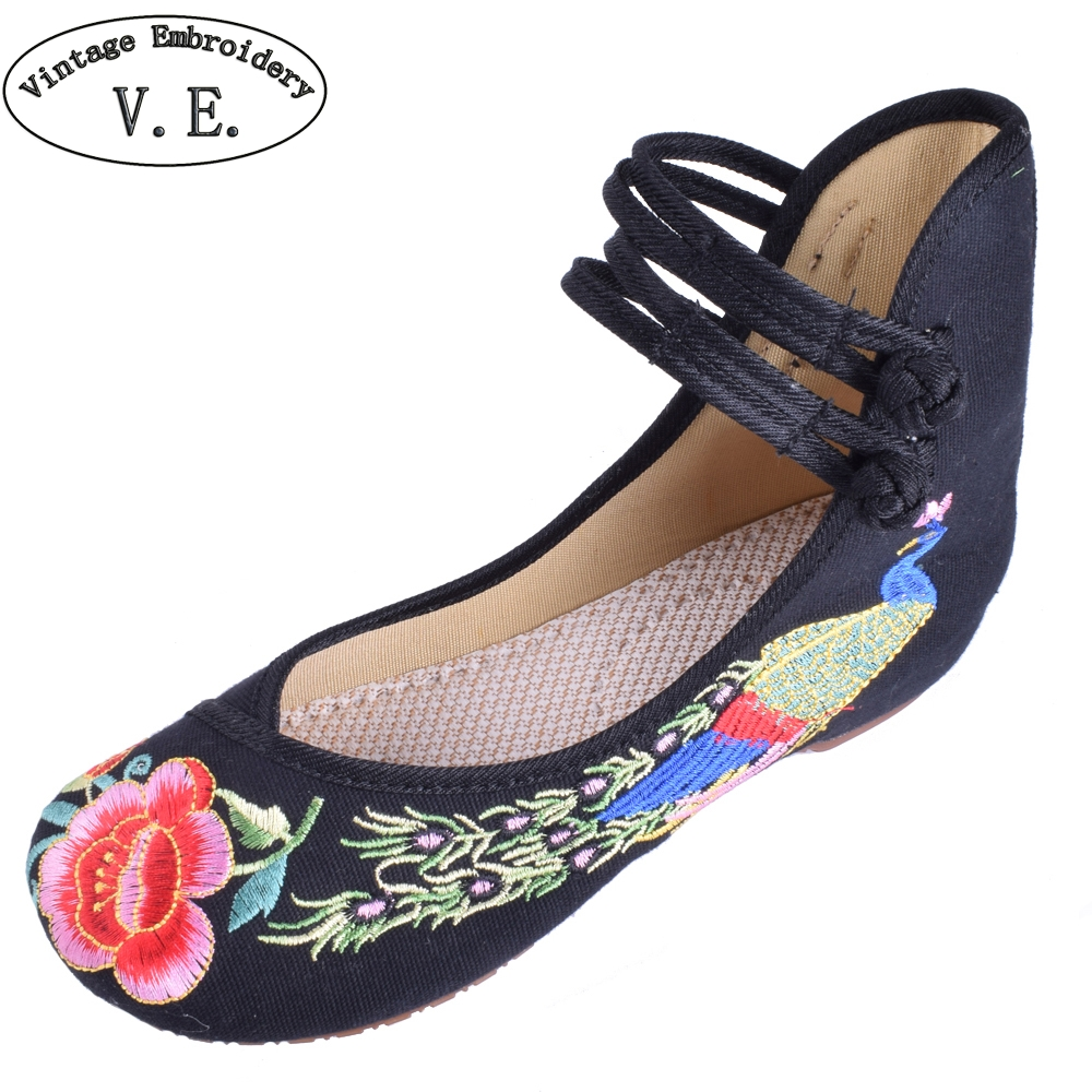 Vintage Women Canvas Flats Shoes Old Beijing Mary Jane Ballet Flat Shoes Peacock Casual Cloth Shoes Woman Plus Size 34-43 plus size 41 fashion women shoes old elegant art party beijing mary jane flats with casual shoes chinese style embroidered clo