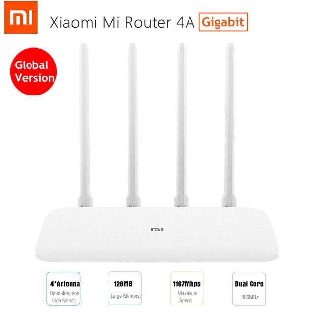 Version globale Xiao mi mi 4A routeur Gigabit édition 2.4GHz 5GHz WiFi 16 mo ROM 128 mo DDR3 4 antenne télécommande APP IPv6