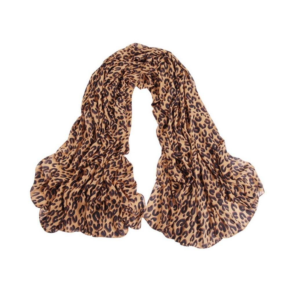 Fashion Women/'s Long Soft Wrap Lady Shawl Silk Leopard Chiffon Scarf