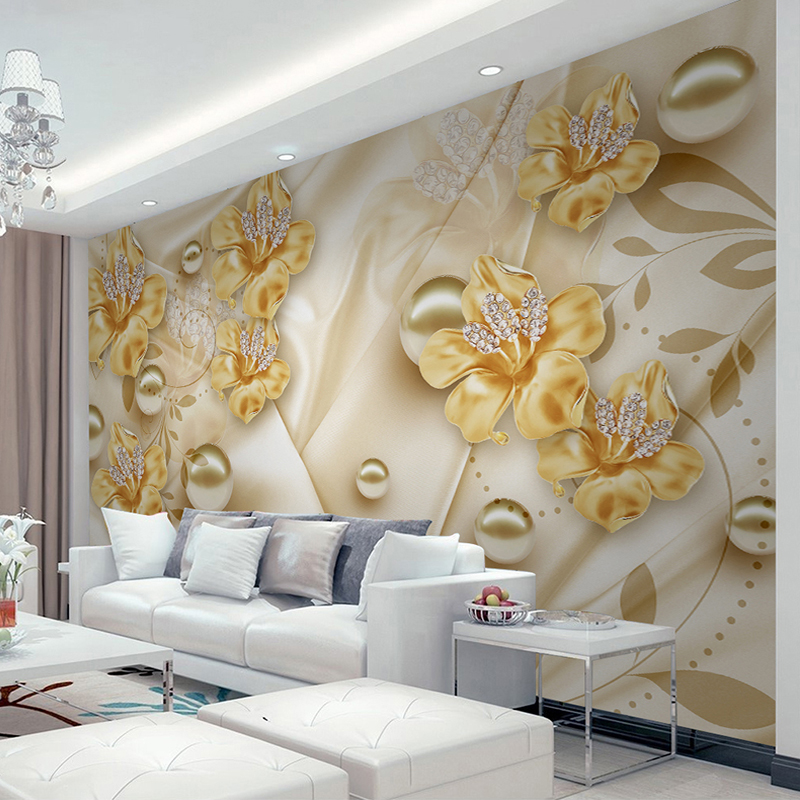 Custom Mural Wallpaper For Walls 3D Diamond Jewelry Flower 3D Wall Painting Art Living Room Sofa TV Background Photo Wall Paper geography of south africa mural wallpaper 3d in european style living room tv wall background 3d wallpapers for walls