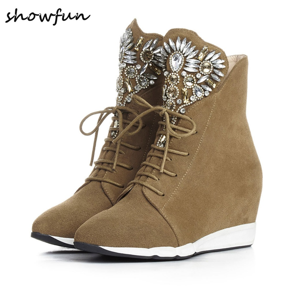 Women's Wedge Pointed Toe Lace-up Leisure High Top Ankle Boots Brand Designer Real Suede Leather Rhinestones Short Booties Shoes