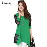 Blusas Femininas Brand Women Blouses 2015 Summer Style O Neck Patchork Plus Size LACE Blouse Long