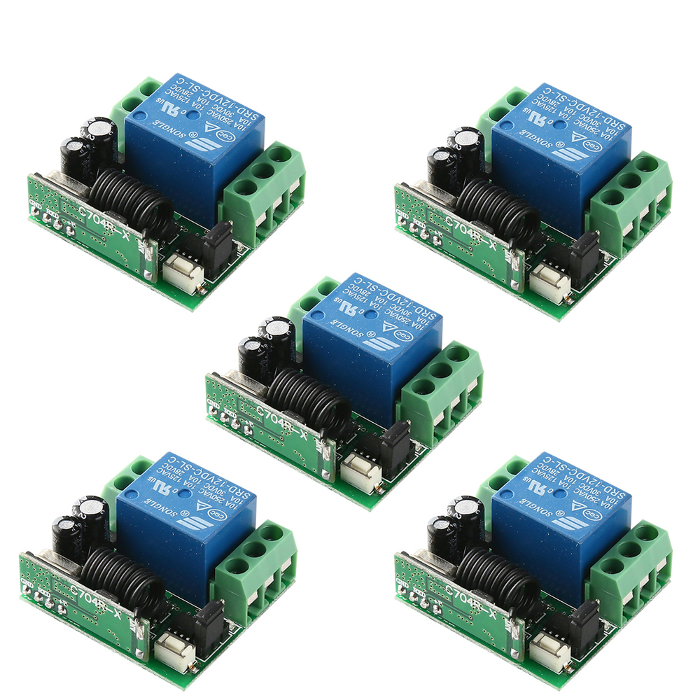 5Pcs DC12V 10A 1 Channel Remote Control Switch Wireless Receiver Relay Module For RF 433MHz Remote Garage Lighting Electric Door