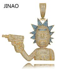 JINAO Hip Hop Jewelry Necklace New Arrival Gun Man Pendant Cubic Zircon Copper Necklace Iced Out Chain Men Gift