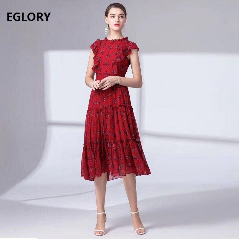 Robe de piste 2019 été mode Sexy fête Boutique robe Femmes exquise impression à manches courtes une ligne vin rouge robe noire Femmes