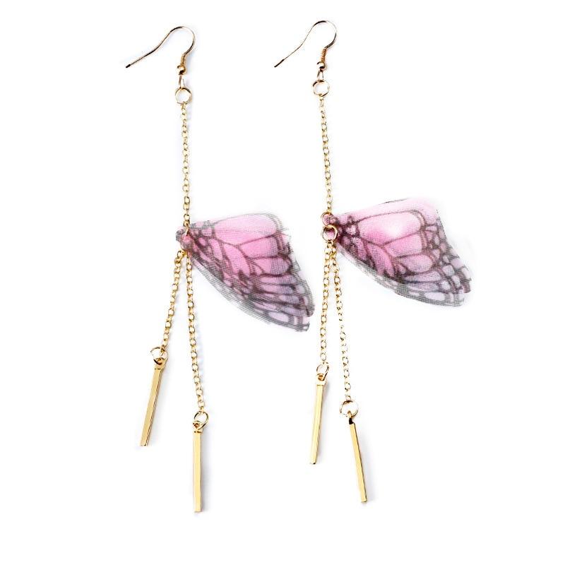 Korean Butterfly Transparent Wings Earring Insect Long Line Hand made Piercing Ear Clip Hook Statement Earring for Women Jewelry in Drop Earrings from Jewelry Accessories