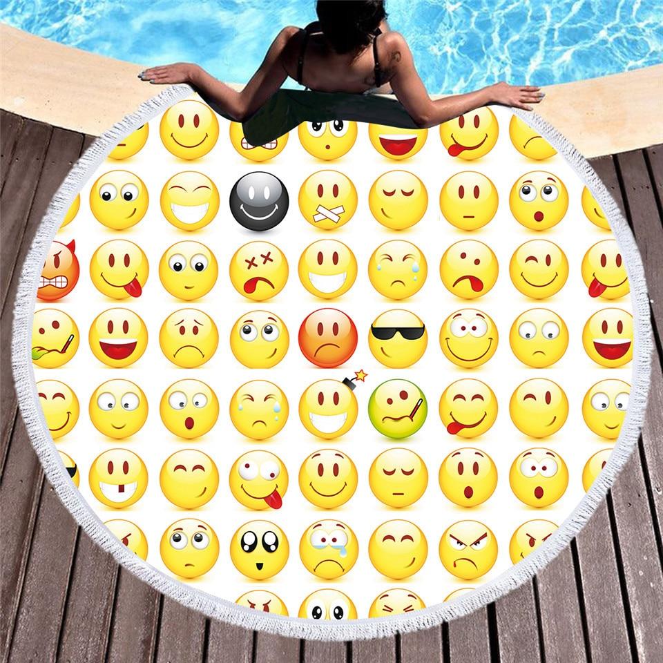 Yellow Expression Face Microfiber soft Towel Round Beach Towel With Tassel Yoga Mat Blanket Printed 150cm Bath Towel YJ52