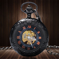 Blacck Pattren Frame Glass Case With Roman Number Skeleton Mechanical Pocket Watch With Chain