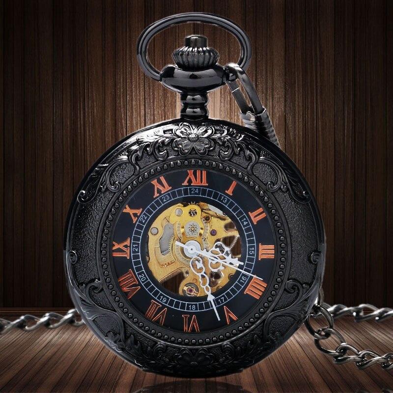 っBlacck patrón Marcos vidrio con número romano esqueleto reloj de ...