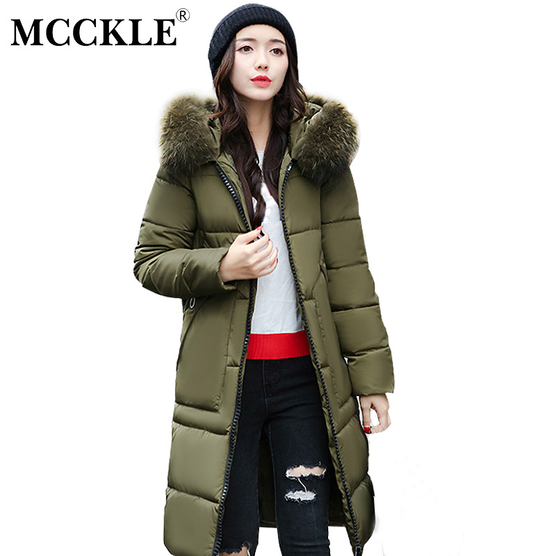 MCCKLE Plus Size Winter Jacket Fur Collar Hooded Cotton Padded Zipper Pockets Coat Outwear Women Thick Warm Slim Long Parka winter jacket women parka plus size 2017 down cotton padded coat slim fur collar hooded thick warm long overcoat female qw699