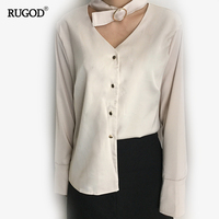 2017New Spring Fashion Style Blouses For Women Chiffon Solid V Neck Open Collar Long Sleeve Button