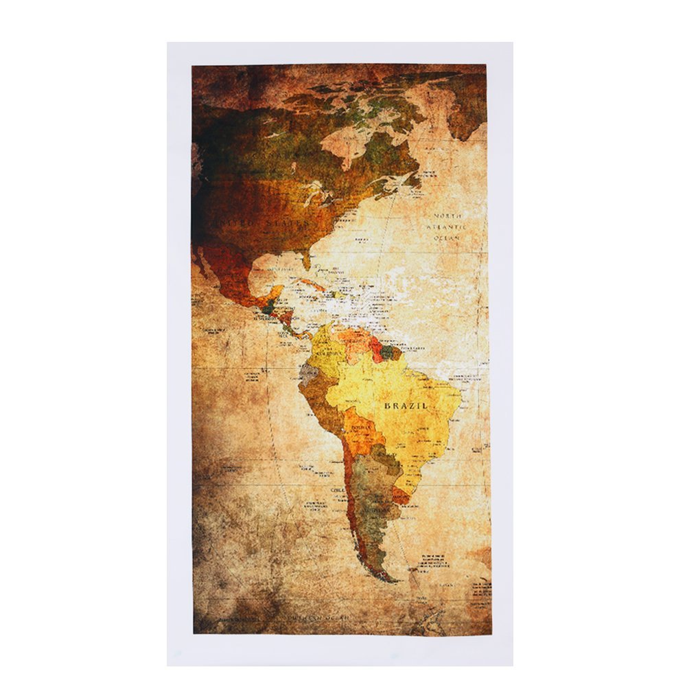 3Panels Vintage Laminated Canvas World Map Painting Travel Kids ...