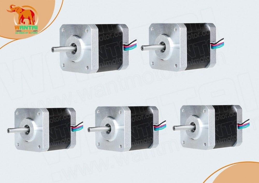 5PCS NEMA17 0.9degree 1.7A 4000g.cm 56oz-in 40N.cm stepper motor stepping motor,2phase,3D Printer 42BYGHM809