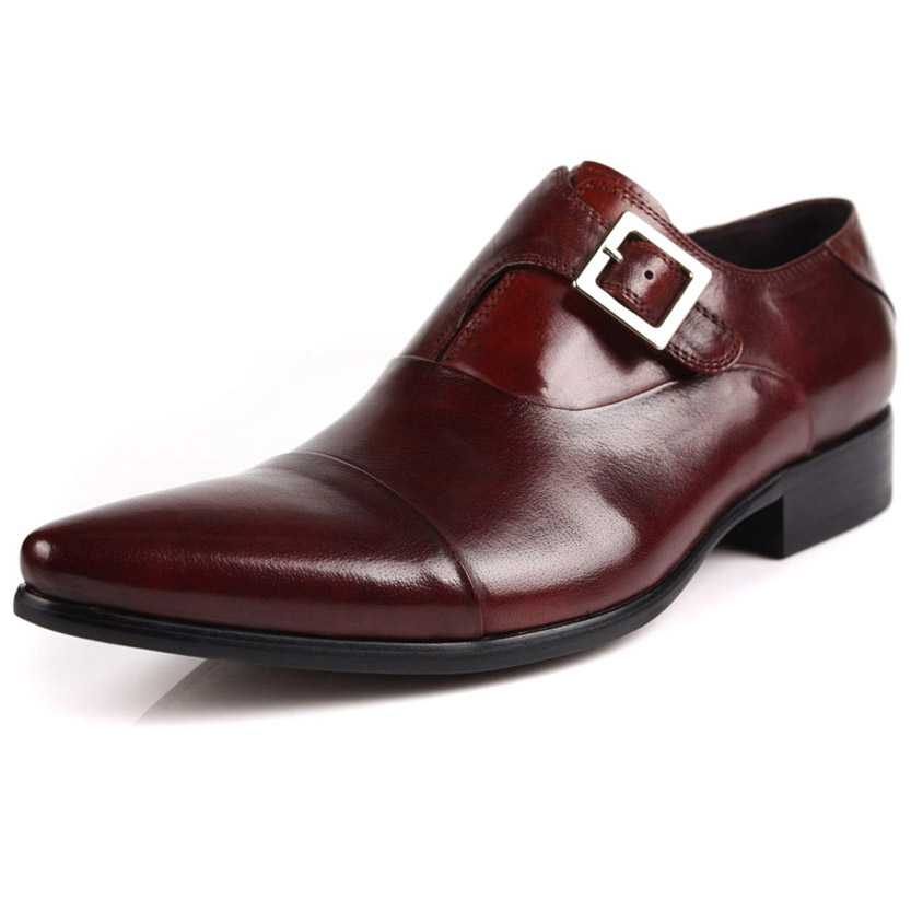 ФОТО 2017 cowhide men's classic fashion dress genuine leather pointed toe dress oxfords wedding party causual shoes freeshipping
