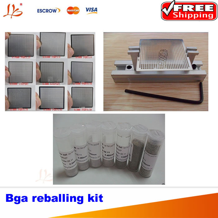 Free shipping!! 10pcs Direct Heat Universal Reballing Stencils + 7 pcs Reballing Station + Reballing Station Stencil jig free shipping direct heat reballing station with handle direct heating bga stencils holder for holding 90mm stencils