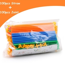200-300pcs Colorful Plastic Straw Fight Inserted Building Blocks Bricks Educational Assembly Toys Christmas Gift for Children gudi police to track suspect the culprits educational blocks fight inserted building blocks assembled toys