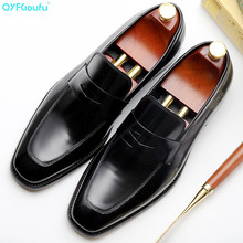 2019 Luxury Slip On Men Shoes British Business Suit Mens Genuine Leather Wedding Dress For