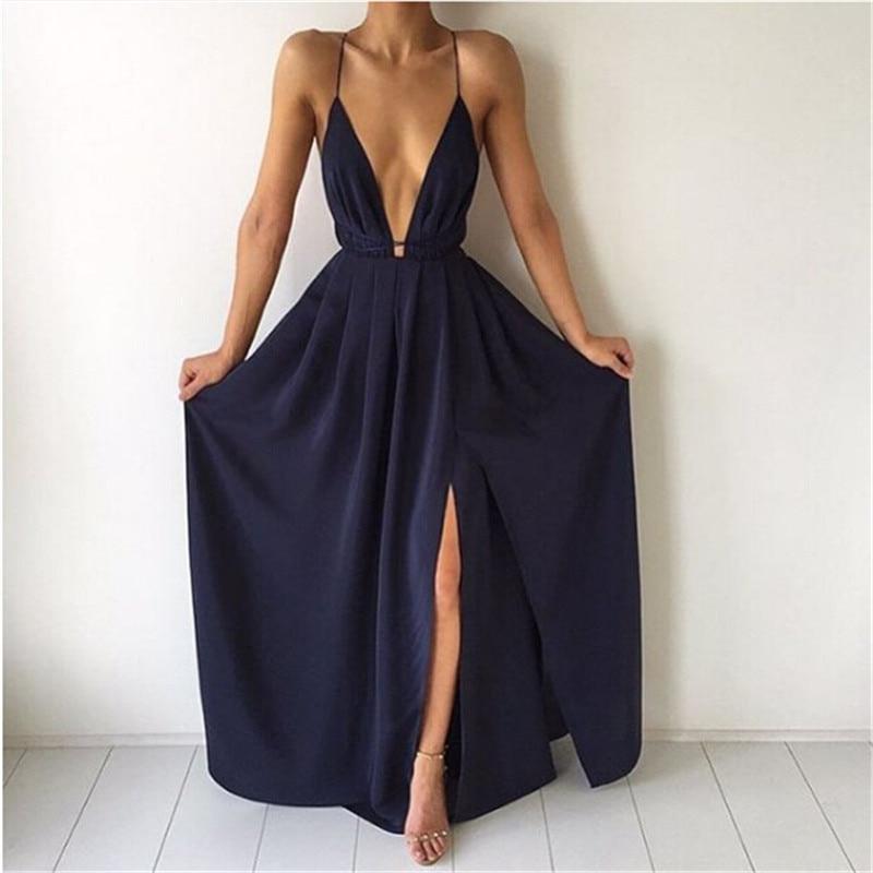 New Arrival Split Maxi Dress Dark Blue Solid Sexy Deep V Neck Evening Party Elegant Clubwear Spaghetti Strap Dresses