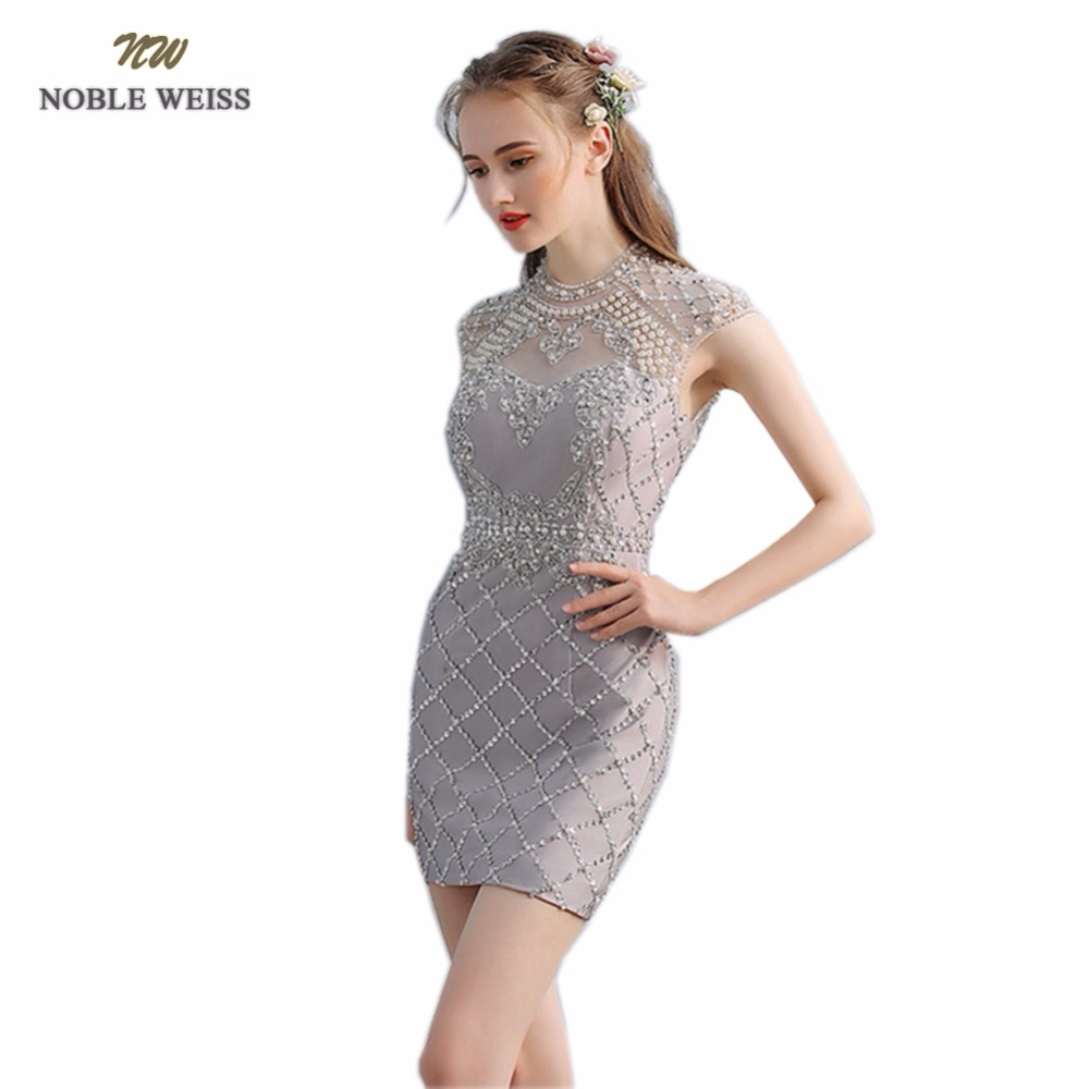 NOBLE WEISS Sexy Gray   Prom     Dress   O-Neck Satin Wedding Party   Dress   Mini Beading Mermaid Luxury   Prom   Gown