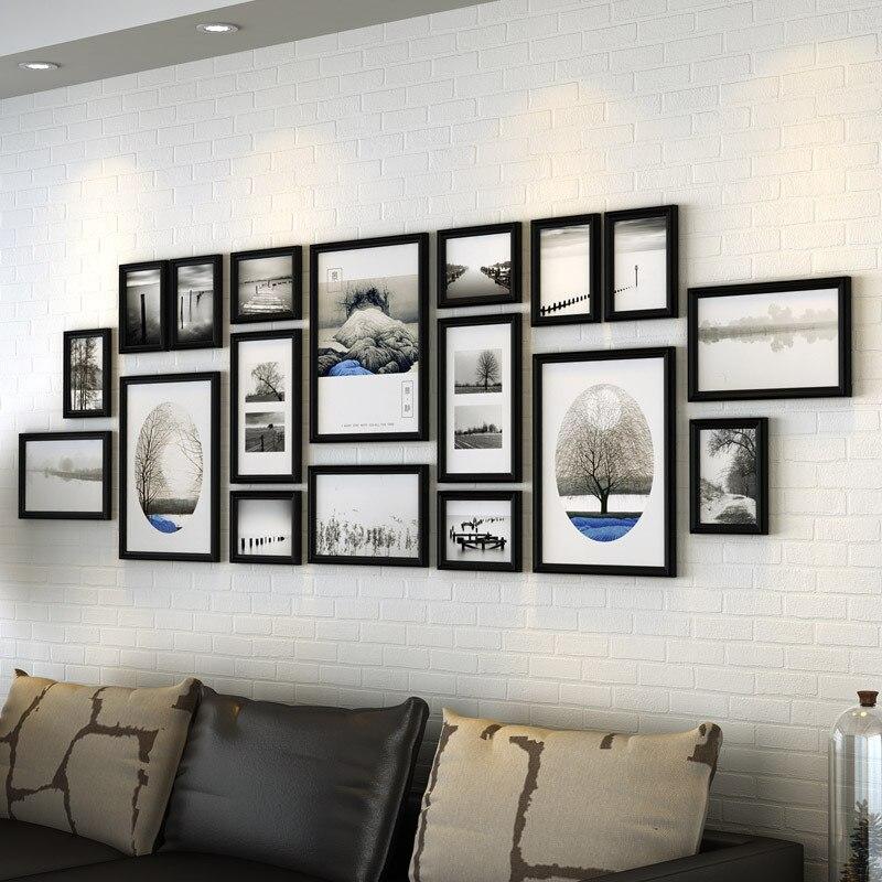 Retro Stijl 18 Stks/set Fotolijst Voor Sofa Tv Achtergrond Studie Opknoping Muur Fotolijst Klassieke Kwaliteit Houten Fotolijsten Geweldige Prijs