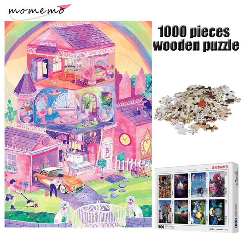 MOMEMO Pink Home Adult Puzzle Games Wooden Puzzle Toys 1000 Pieces Puzzles for Adults Jigsaw Puzzles Kid Games Toys