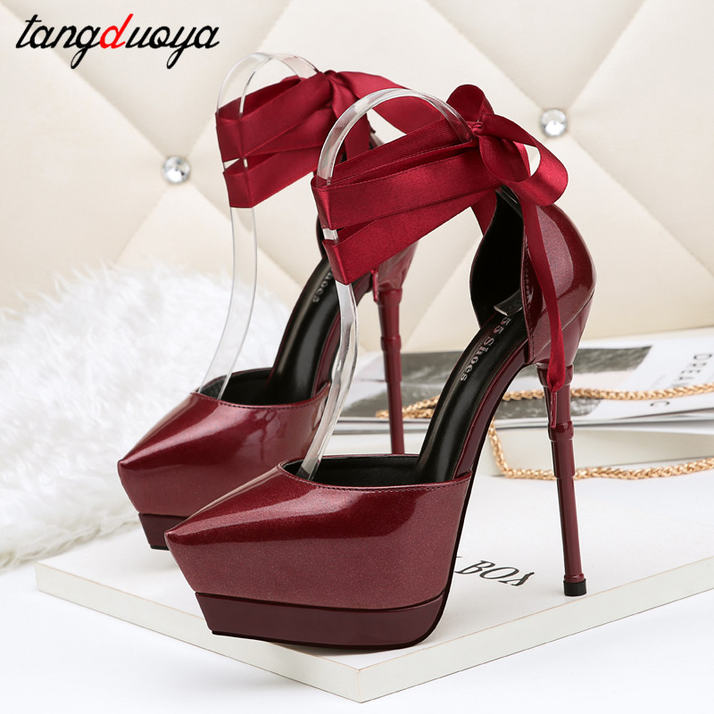 Sexy High Heels Women Shoes For Party Wedding Shoes Pointed Toe Pumps High Heels Shoes Woman Platform Pumps Ankle Strap S