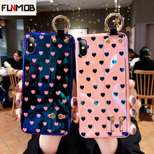 Luxury Silicone Wristband Phone Case For iPhone 6 6s 7 8 Plus X Love Heart Patterned Couple XR XS Max Coque