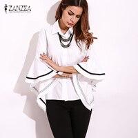 2017 ZANZEA Women Summer Buttons Down Shirt Spring Striped Patchwork Flouncing Sleeve Loose Elegant Fashion Blouse