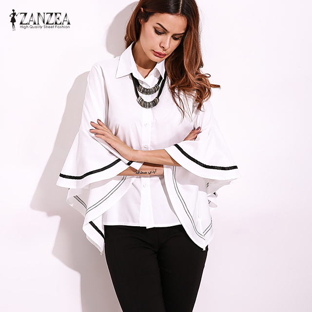 2018 ZANZEA Autumn Lapel Neck Buttons Down Striped Patchwork Flouncing Sleeve Blouse Elegant Women Shirt Loose Fashion Tops