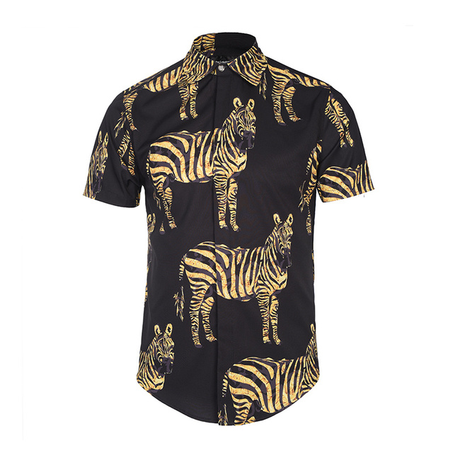 2017 summer new Europe tide brand swag shirts Painted zebra print Men fashion casual short - sleeved shirt camisa masculina