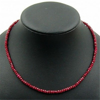 Vintage Classic Natural Stone Jewelry Noble Deep Red Ruby Beaded Chain Choker Necklace 45 Cm