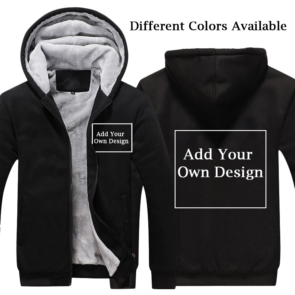 Для мужчин/для женщин логотип индивидуальный заказ утолщаются балахон индивидуальный принт текст теплый Flleece зимнее пальто на молни