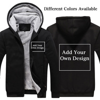 Men/Women Custom Logo Personalized Thicken Hoodie Customized Print Text Warm Flleece Winter Zipper Coat Sweatershirt