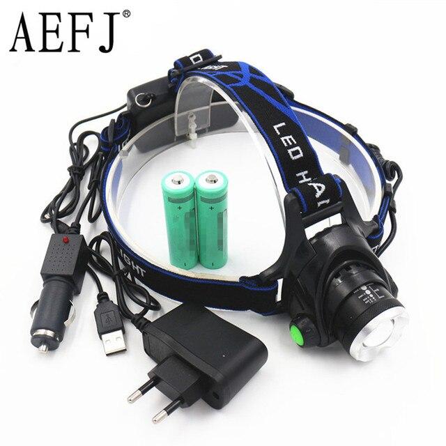 5000LM Zoom XML-L2 LED Head Headlight Torch flashlight head light lamp +2x18650 Battery+ EU/US/AU/UK Car USB charger