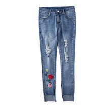 ea4b4bdcf4b Women Embroidery Skinny Jeans Women Mid Waist Denim Pants Floral Ripped  Hole Female Casual Jeans Light Blue Jeans AA11258