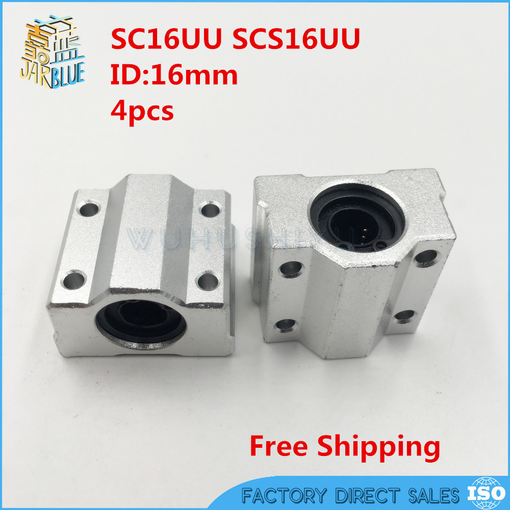 Free shipping New 4pcs SC16UU SCS16UU 16mm Linear Block CNC Router DIY CNC Parts free shipping sc16vuu sc16v scv16uu scv16 16mm linear bearing block diy linear slide bearing units cnc router