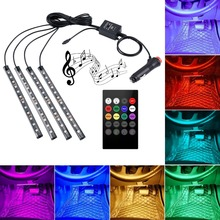 Car LED Strip Light Multicolor Music Car Interior Lights LED Lighting Kit  DC12V With Sound Active Function and Wireless Remote