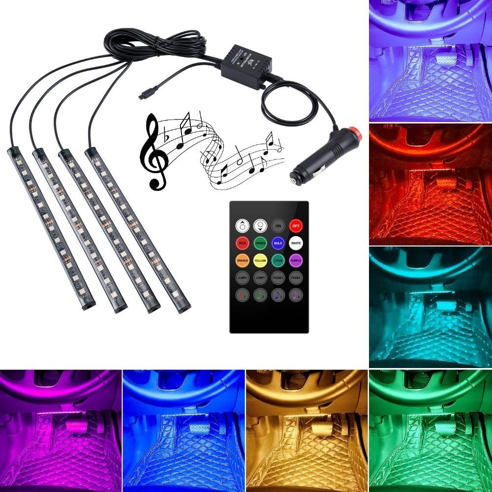 где купить Car LED Strip Light Multicolor Music Car Interior Lights LED Lighting Kit DC12V With Sound Active Function and Wireless Remote по лучшей цене