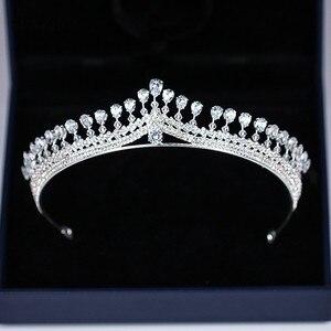 Image 5 - Новая страз свадебная тиара Блестящая серебряная принцесса короны для невесты свадебный головной аксессуар бесплатная доставка SQ0294