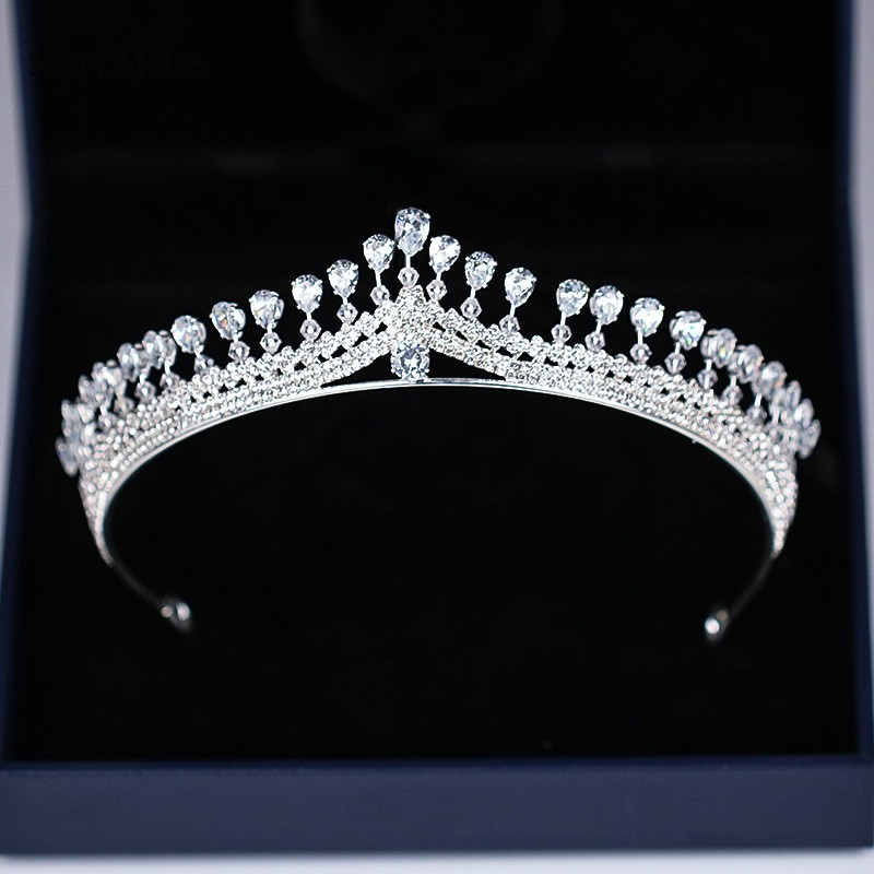 Image 5 - New Strass Bridal Tiara Shinny Silver Princess Crowns For Brides Wedding Head Accessory Free Shipping SQ0294-in Bridal Headwear from Weddings & Events