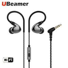 Ubeamer Z4 earphone In ear wired Four dynamic circle speakers HD dual unit crisp sound microphone for mobile phone and sport(China)