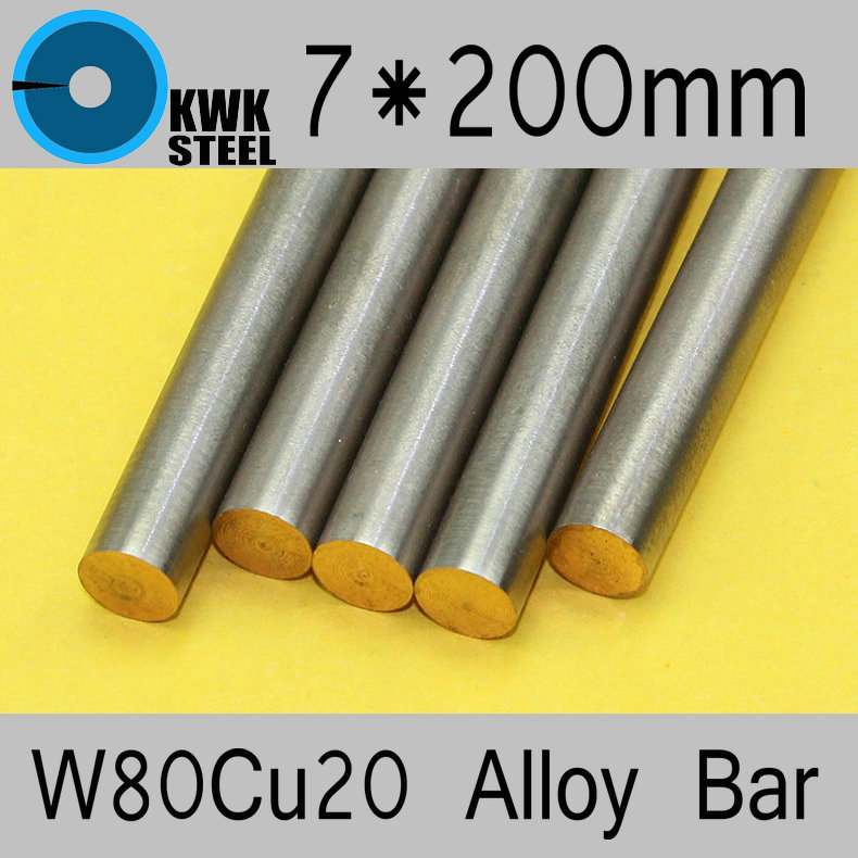 7*200mm Tungsten Copper Alloy Bar W80Cu20 W80 Bar Spot Welding Electrode Packaging Material ISO Certificate Free Shipping
