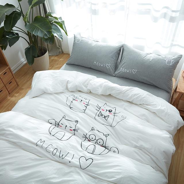 100% algodón bonito patrón de gato sin decoloramiento reina rey ...