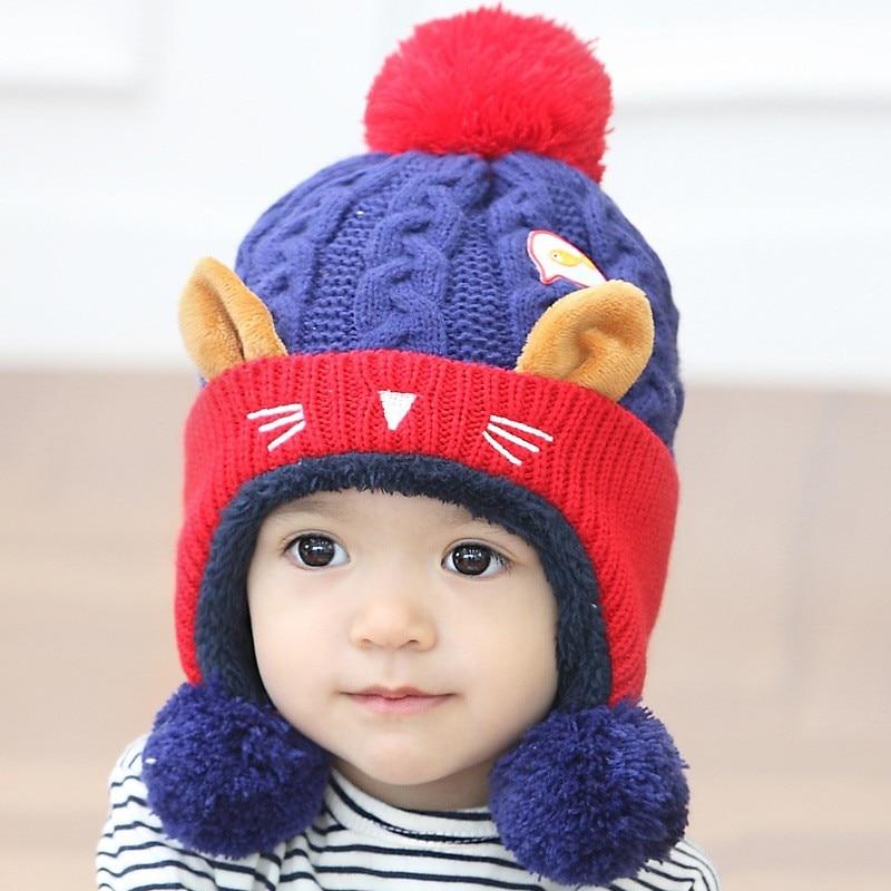 Baby Hat 2017 Cute Baby Winter Hat Warm Infant Beanie Cap For Children Boys Girls Animal Cat Ear Kids Crochet Knitted Hat B0754